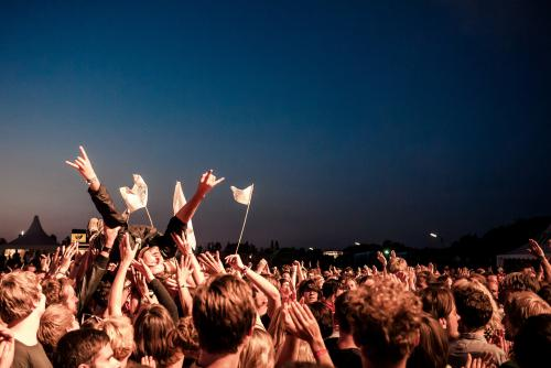 Person crowdsurfing at a music festival in Germany against a night sky, hands in the hook'em horns position