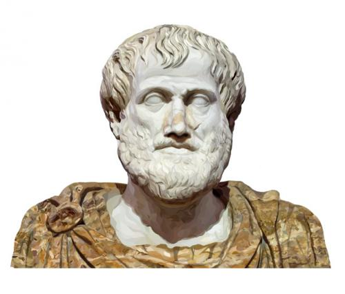 Computer drawing of a sculpture of Aristotle
