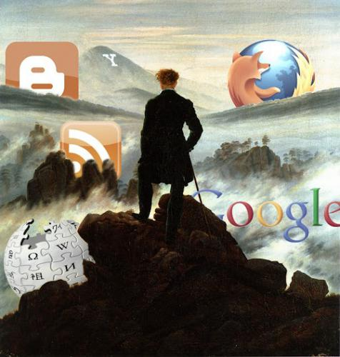 Caspar David Friedrich's painting Wanderer Above the Sea of Fog with Internet logos in the distance
