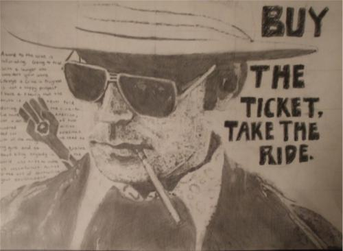 Drawn portrait of Hunter S. Thompson