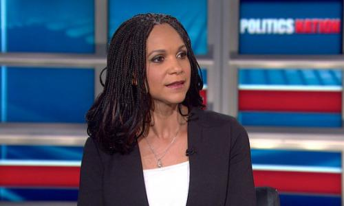 Photograph of Harris-Perry on TV set