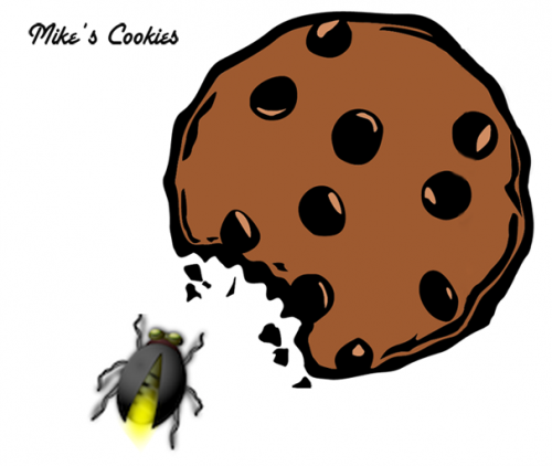 A lightning bug eating a large cookie