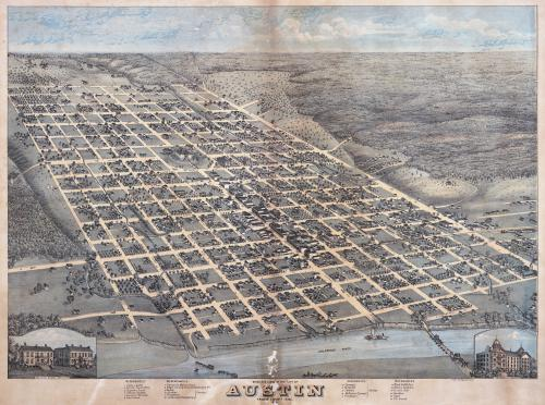 Old illustrated map of Austin, Texas
