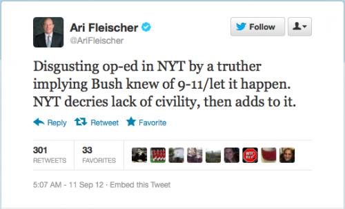 Ari Fleischer Tweet, begins Digusting op-ed in NYT by a truther
