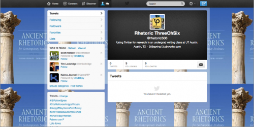 Class Twitter account, @rhetoric306, with Ancient Rhetorics for Contemporary Students (5th ed.) as background