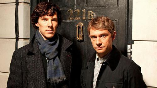 Photo of Sherlock Holmes and Dr. Watson from the BBC series Sherlock