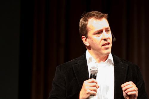 Colin Beavan makes an ethical appeal during a public talk