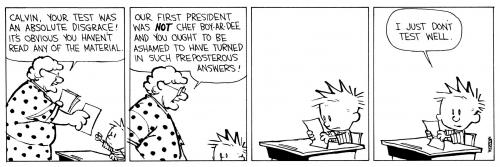 a teacher berates Calvin for giving wrong answers