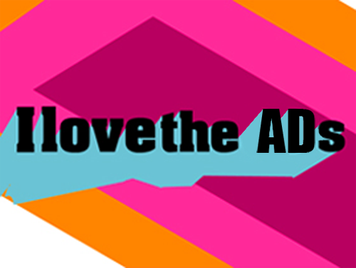 """I love the ADs"" on neon geometric background"