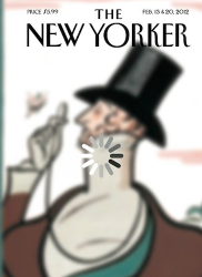 New Yorker cover featuring a blurry drawing overlaid with a graphic indicating the image is loading
