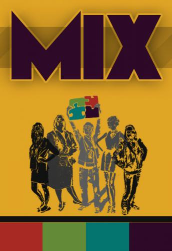 Poster for game mix, with large title and five illustrated people, one of whom holds on jigsaw pieces