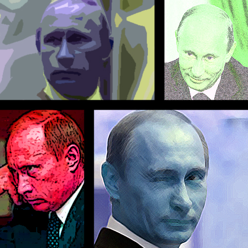 Andy Warhol-style grid of four Putins