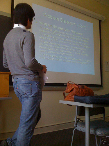 Photo of student giving a PowerPoint presentation