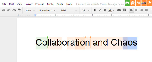 Text reading collaboration in chaos in a GoogleDoc