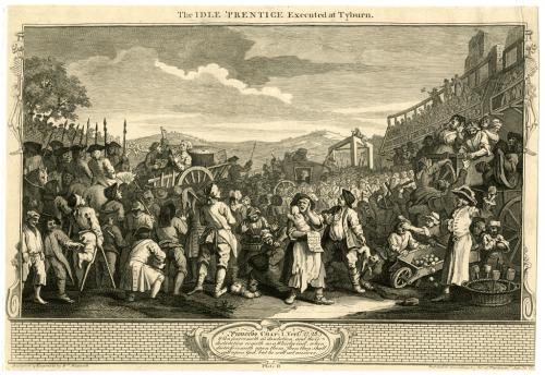 Broadside depicting crowd at an execution